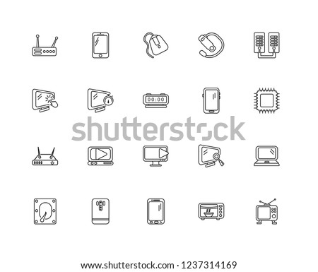 Set Of 20 linear electronic devices icons such as Tv, Microwave, Tablet, Phone, Diskette, Server, Lcd, Modem, Timer, Mouse, editable stroke vector icon pack