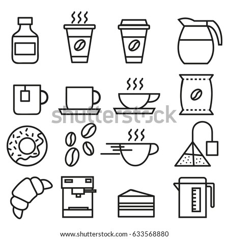 Set of linear icons for coffeeshop