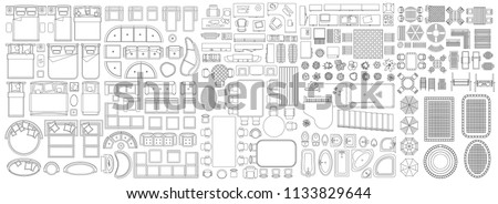 Set of linear icons. Interior top view. Isolated Vector Illustration. Furniture and elements for living room, bedroom, kitchen, bathroom. Floor plan (view from above). Furniture store.