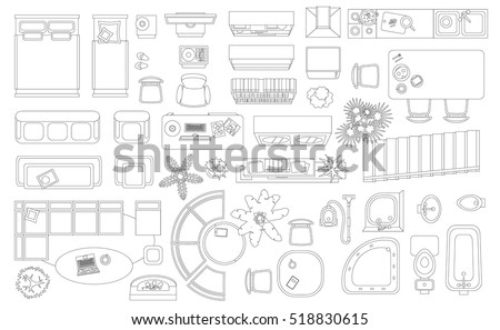 set of linear icons interior