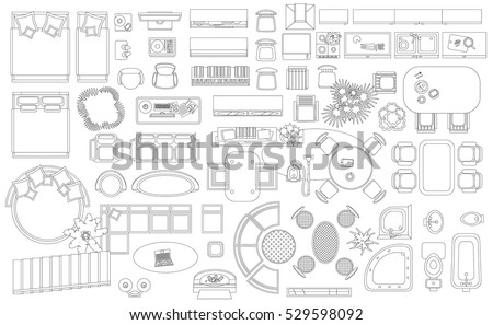 Free floor plan vector download free vector art stock graphics set of linear icons interior top view isolated vector illustration furniture and elements malvernweather Choice Image