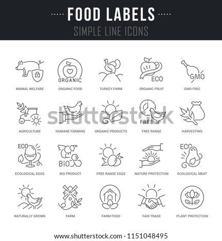 Set of linear icons of food labels with names.