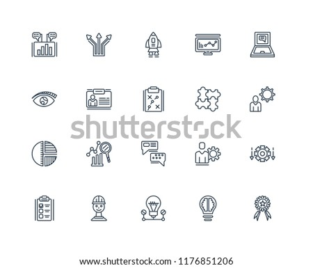 Set Of 20 linear icons such as Achievement, Marketing, Lightbulb, Workers, Plan, Laptop, Jigsaw, Chat, Pie graphic, ID, Start, editable stroke vector icon pack #1176851206