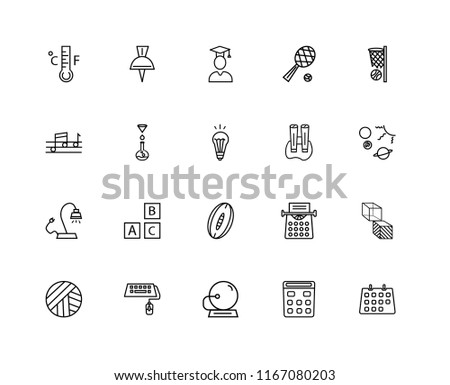Set Of 20 linear icons such as Classroom Calendar, Solar System Planets, Basketball Basket, Tennis Game, Volleyball Ball, School Push Pin, Old Typewriter, Quaver, editable stroke vector icon pack