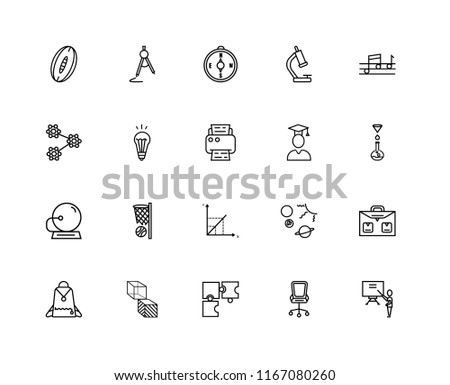Set Of 20 linear icons such as Classroom, Chemistry Funnel, Quaver, Biology Microscope, Student Backpack, School Compass, Solar System Planets, Molecular Structure, editable stroke vector icon pack