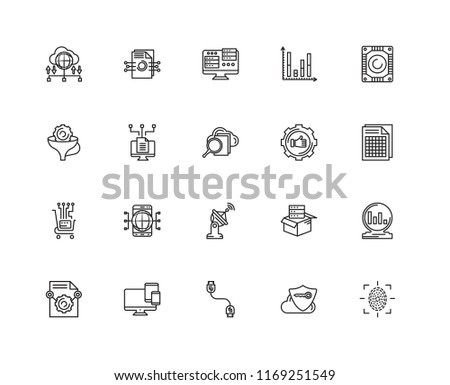 Set Of 20 linear icons such as Fingerprint scan, Xlsx, Hard drive, Bar chart, Content, File, Storage, Filter, editable stroke vector icon pack #1169251549