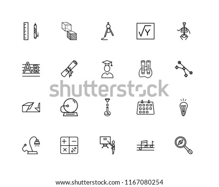 Set Of 20 linear icons such as Geometry Cube, Quaver, Anatomy Class Skeleton, Mathematical, Reading Lamp, Idea Light Bulb, Diploma Roll, editable stroke vector icon pack