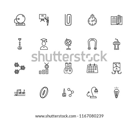Set Of 20 linear icons such as Idea Light Bulb, Classroom Tribune, Open book, Stopwatch, Quaver, Classroom, Calendar, Chemistry Funnel, editable stroke vector icon pack