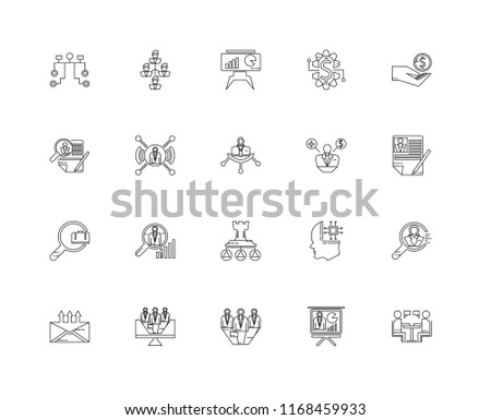 Set Of 20 linear icons such as Interview, Presentation, Candidates, Monitor, Email, Incentive, Employee, Strategy, Job search, Networking, editable stroke vector icon pack #1168459933