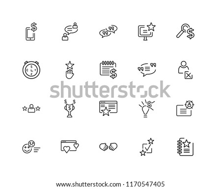 Set Of 20 linear icons such as List, Review, Handshake, Rating, Search, Quotes, Testimonial, editable stroke vector icon pack #1170547405