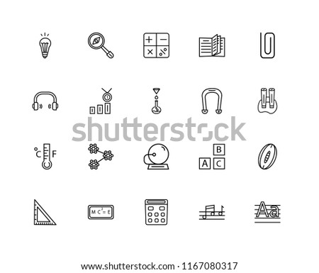 Set Of 20 linear icons such as Magnifying Glass with Worms, Quaver, Classroom Clip, Relativity formulae, School Triangle, Rugby Ball, Class Reward, editable stroke vector icon pack