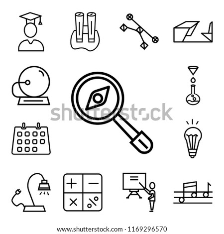 Set Of 13 linear icons such as Magnifying Glass with Worms, Quaver, Classroom, Mathematical, Reading Lamp, Idea Light Bulb, Classroom Calendar, Chemistry Funnel, web ui editable icon pack