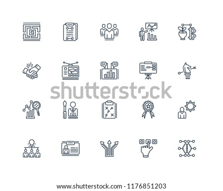 Set Of 20 linear icons such as Network, Choose, Direction, ID, Brainstorming, Money, Training, Strategy, Competitive, Advertising, People, editable stroke vector icon pack #1176851203