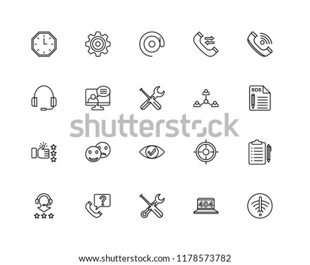Set Of 20 linear icons such as No wifi, 404 error, Settings, Telephone, Headphones, Connection, Eye, Like, Video call, At, editable stroke vector icon pack #1178573782