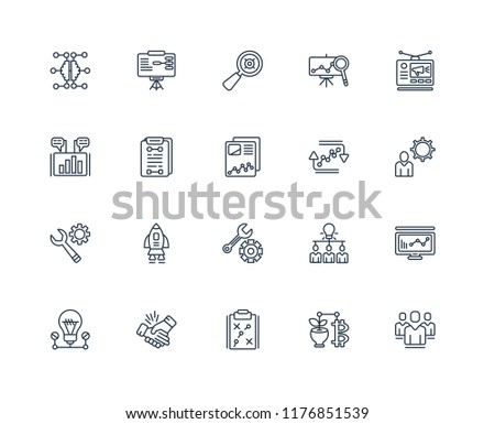Set Of 20 linear icons such as People, Money, Strategy, Handshake, Lightbulb, Advertising, Cycle, Function, Progress, Planning, Selective, editable stroke vector icon pack #1176851539