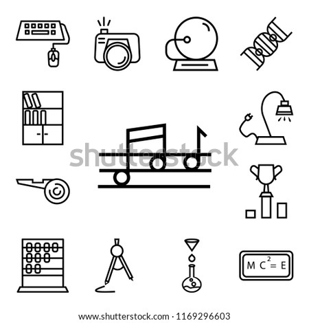 Set Of 13 linear icons such as Quaver, Relativity formulae, Chemistry Funnel, School Compass, Abcus, Classroom Cup, Football referee whistle, Reading Lamp, web ui editable icon pack