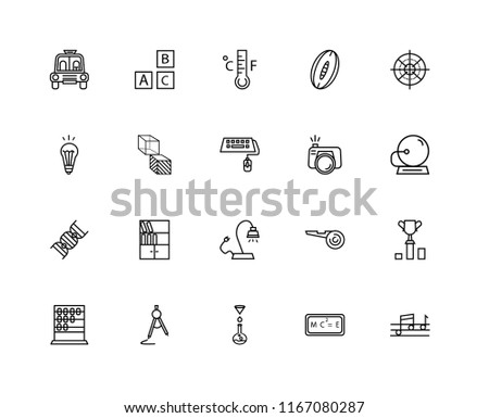 Set Of 20 linear icons such as Quaver, School Bell, Sniper Gun Target, Rugby Ball, Abcus, Baby ABC Cubes, Football referee whistle, Idea Light Bulb, editable stroke vector icon pack