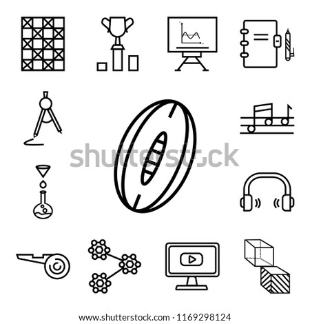 Set Of 13 linear icons such as Rugby Ball, Geometry Cube, Video In Browser, Molecular Structure, Football referee whistle, School Headphones, Chemistry Funnel, Quaver, web ui editable icon pack