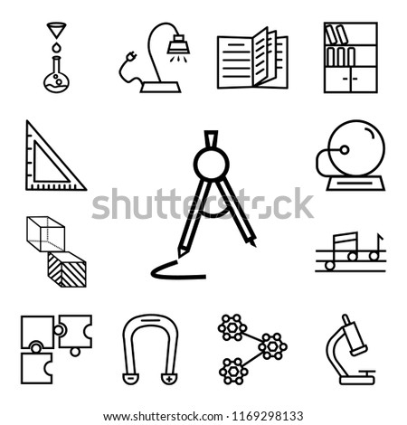 Set Of 13 linear icons such as School Compass, Biology Microscope, Molecular Structure, Horseshoe Magnet, Puzzle Game Piece, Quaver, Geometry Cube, Bell, web ui editable icon pack