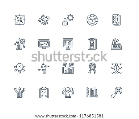 Set Of 20 linear icons such as Selective, Sales, People, Strategy, Direction, Planning, Marketing, Analytics, Organization, editable stroke vector icon pack #1176851581