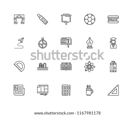 Set Of 20 linear icons such as square, Pencil, Watercolor, Schedule, Newspaper, Stapler, Pen, Yearbook, Protractor, Orientation, Screen, editable stroke vector icon pack