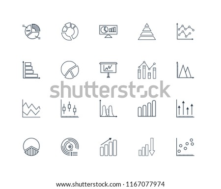 Linear Icons With Charts And Statistics Download Free Vector Art