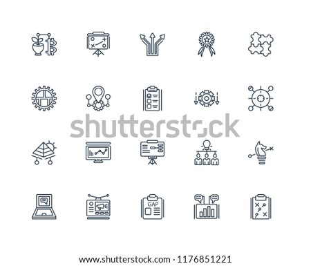 Set Of 20 linear icons such as Strategy, Marketing, Gap, Advertising, Laptop, Jigsaw, Differentiation, Training, Pyramid, Map, Direction, editable stroke vector icon pack #1176851221
