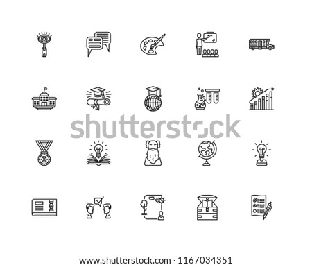 Set Of 20 linear icons such as Test, Chest, Ecosystem, Suggestion, Education, School bus, Chemistry, Wise, Medal, Graduation, Paint palette, editable stroke vector icon pack