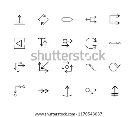 Set Of 20 linear icons such as Upward, Multiply, Sort, Minimize, Transfer, Shuffle, Curved arrow, Horizontal arrows, Circuit, Backward, editable stroke vector icon pack
