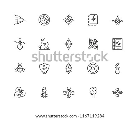 Set Of 20 linear icons such as Virus, Tree, Worms, Cells, Bug, Seaweed, editable stroke vector icon pack #1167119284