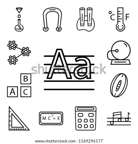 Set Of 13 linear icons such as Write By Hand, Quaver, School Calculator, Relativity formulae, Triangle, Rugby Ball, Baby ABC Cubes, Bell, web ui editable icon pack