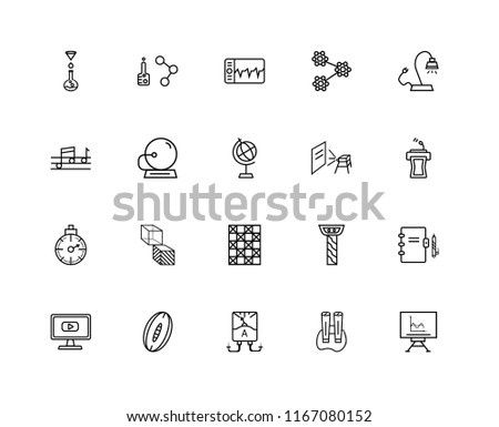 Set Of 20 linear icons such as Writing Whiteboard, Classroom Tribune, Reading Lamp, Molecular Structure, Video In Browser, Chemical Formula, Greek column, Quaver, editable stroke vector icon pack