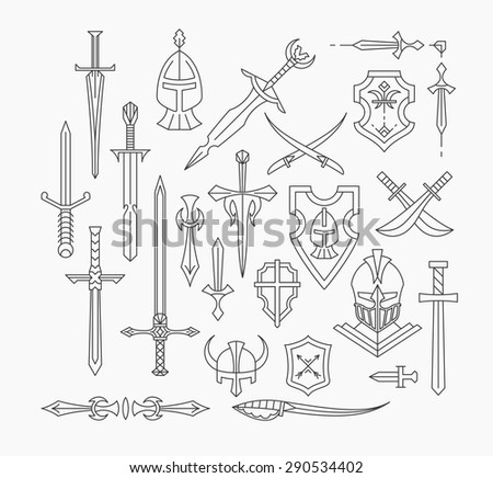 set of linear medieval weapon