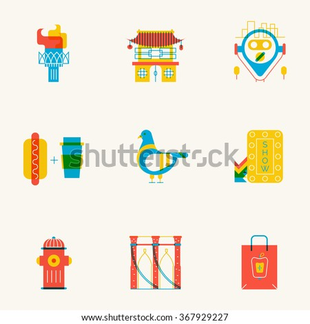 Set of linear New York icons. Main New York landmarks in trendy flat transparent style.