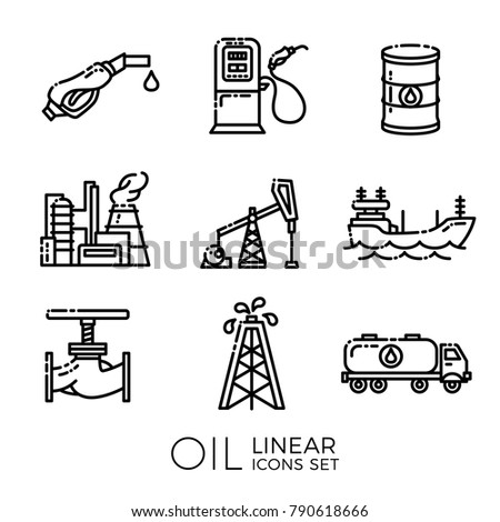 Set of linear oil icons - barrel, gas station and rigs, tanker, oil truck, plant, valve. Vector illustration