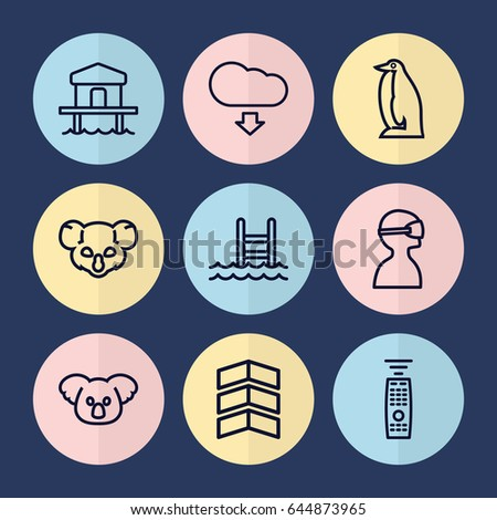 set of 9 linear outline icons