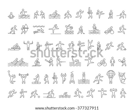 Set of linear shapes popular sports athletes. Vector icons of sportsmen summer and winter sports on white background.