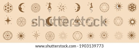 Set of linear symbols and icons in modern minimalist style. Star, moon, sun, dagger print design elements for logo, decoration. Vector flat illustration Сток-фото ©