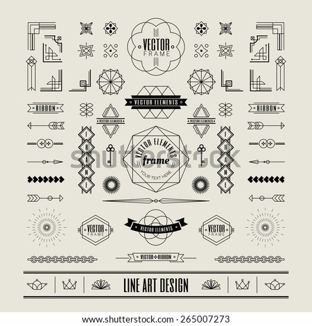 Set of linear thin line art deco retro vintage design elements with frame corner badge in geometric shape