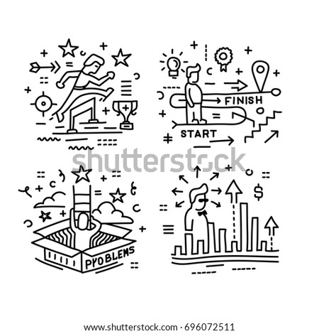 Set of linear vector icons in a modern style, overcoming obstacles, solving problems, the path to success.