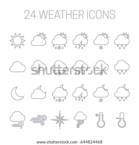 Set of linear weather icons isolated on white background