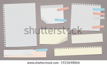 Set of lined white, yellow note, notebook paper pieces stuck with sticky tape on brown background. Vector illustration