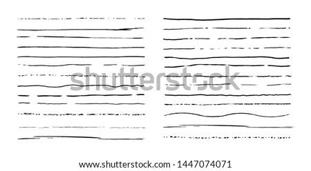 Set of lines. Hand drawn vector borders. Vintage doodle underlines. Cartoon pattern element. Grunge frame set.