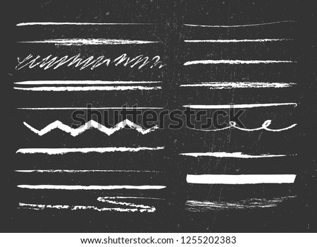 set of lines with chalk texture on grunge background