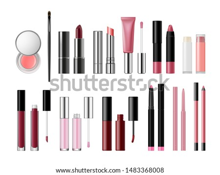 Set of lip cosmetic products. Lip gloss, lipstick, balm, cream, pencil packaging templates collection with applicators. Makeup artist tools. Liquid, matt, glossy lipsticks opened and closed isolated.