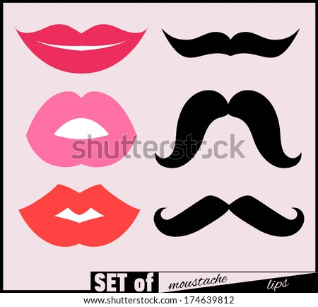 Set of lips and mustaches Vector illustration