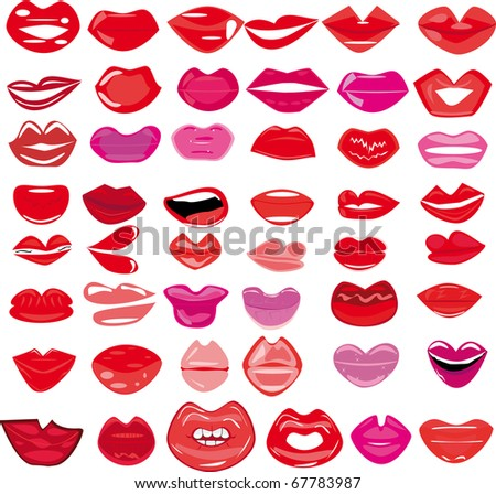 set of lips illustration