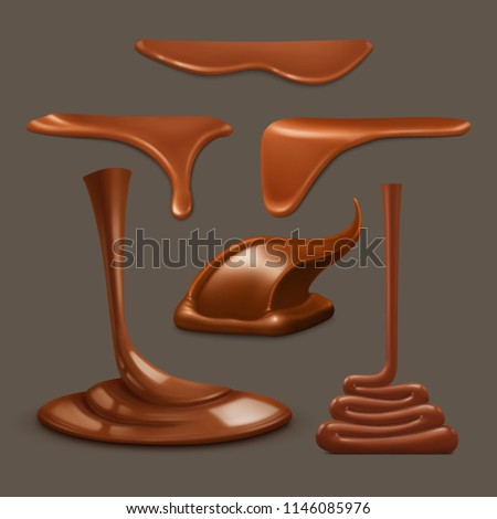 Set of liquid chocolate vector. Melted chocolate.