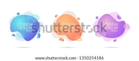 Set of liquid color abstract geometric shapes. Fluid gradient elements for minimal banner, logo, social post. Futuristic trendy dynamic elements. Abstract background. - Vector