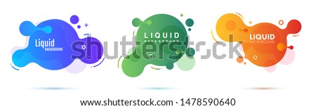Set of liquid color abstract geometric shapes. Fluid gradient elements for minimal banner, logo, social post. Futuristic trendy dynamic elements. Abstract background.